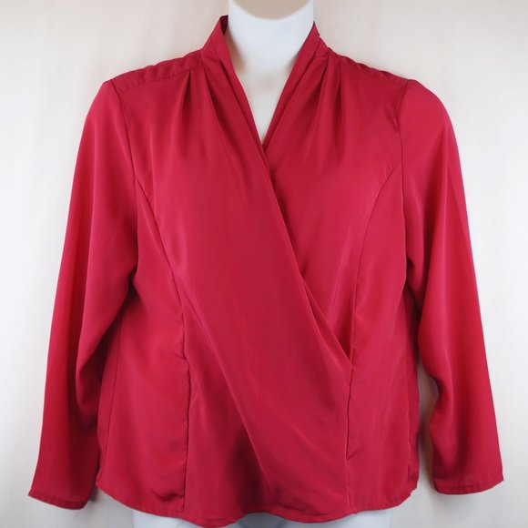 Vintage Tops - 3/$20 Additions Blouse Long Sleeve Faux Wrap Top